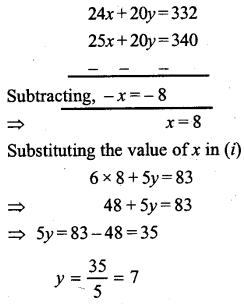 ML Aggarwal Class 9 Solutions for ICSE Maths Chapter 6 Problems on Simultaneous Linear Equations Chapter Test 6