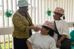 Minister of Public Health, Hon. Volda Lawrence interacts with senior citizens.