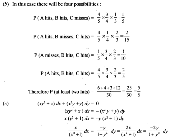 ISC Class 12 Maths Previous Year Question Papers Solved 2012 Q1.7