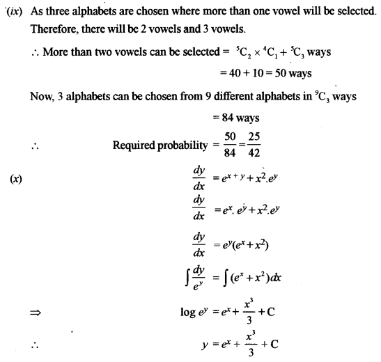 ISC Class 12 Maths Previous Year Question Papers Solved 2011 Q1.10