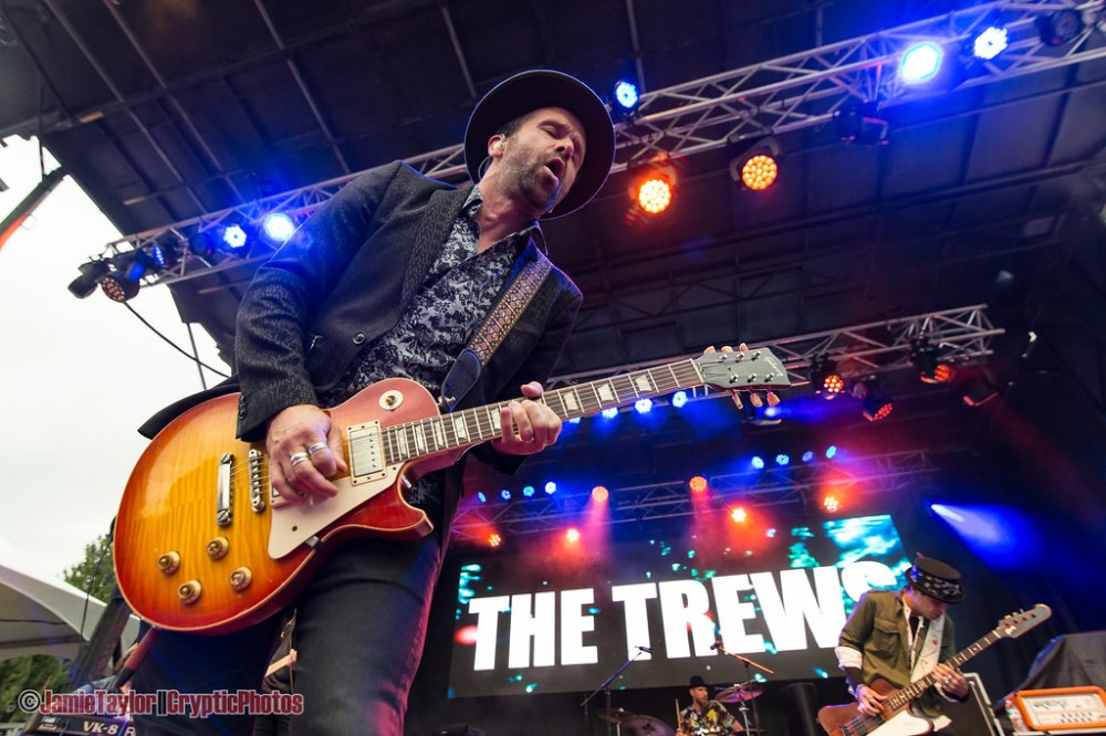Guitarist John-Angus MacDonald of The Trews performing at Summerset Music & Arts Festival at Fort Langley in Langley, BC on August 30th, 2019