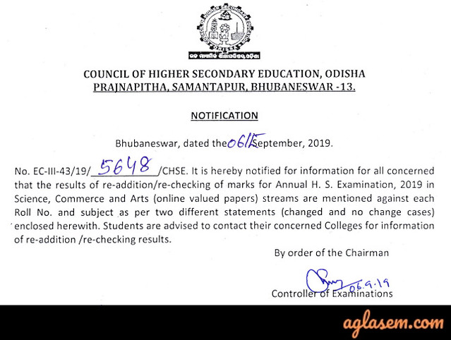 Odisha +2 Rechecking 2019 Result