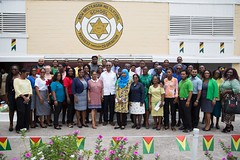 President David Granger along with the staff of the New Amsterdam Multilateral School.