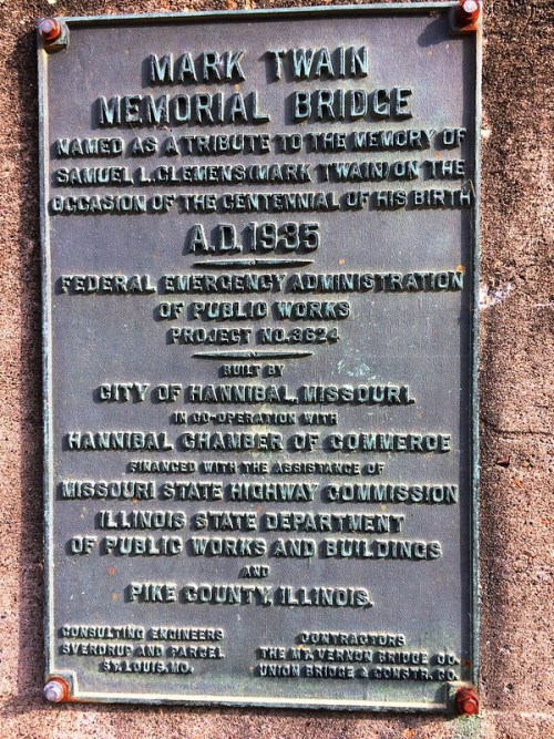 Original Mark Twain Bridge Plaque