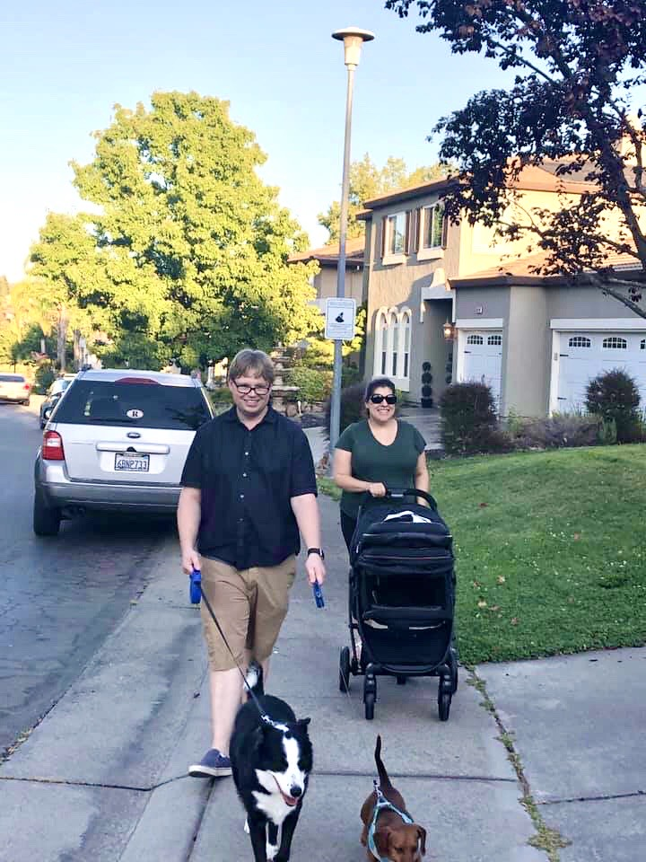 Trying out the new stroller