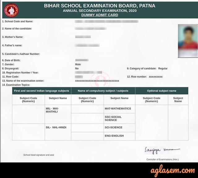 Bihar Board 10th Dummy Admit Card 2021