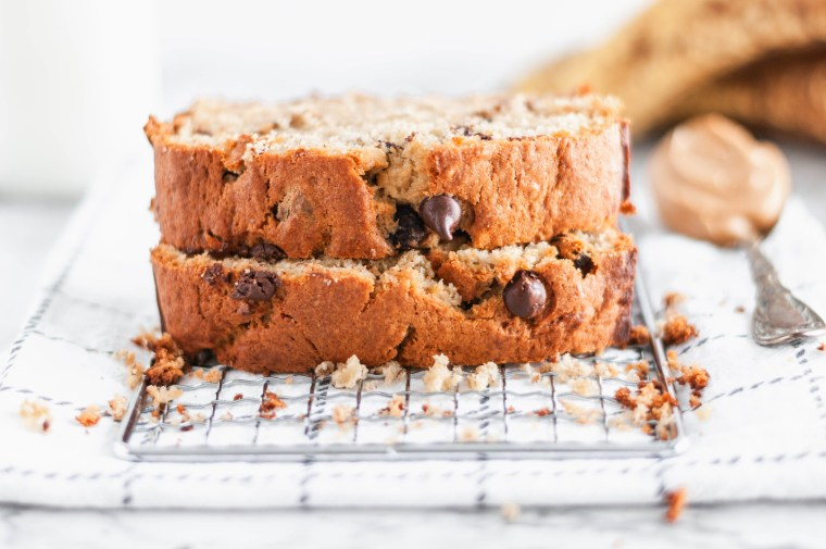 This Peanut Butter Banana Bread with Chocolate Chips is simple to make with ingredients you most likely already have at home. Packed full of banana and peanut butter flavor with a sprinkling of chocolate chips.