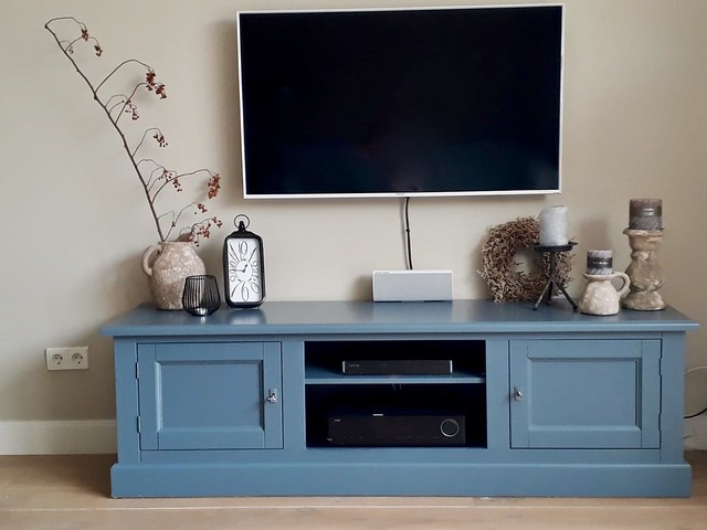 Tv meubel blauwgrijs landelijk wonen