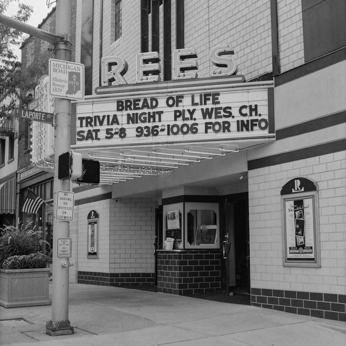 Rees Theater, sign lit