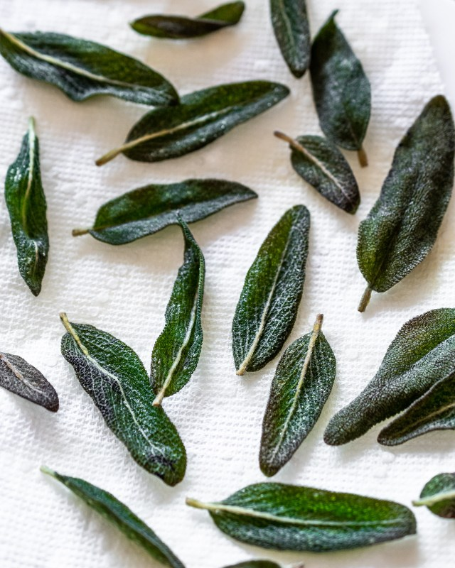 when cooked, sage leaves become a deep emerald green