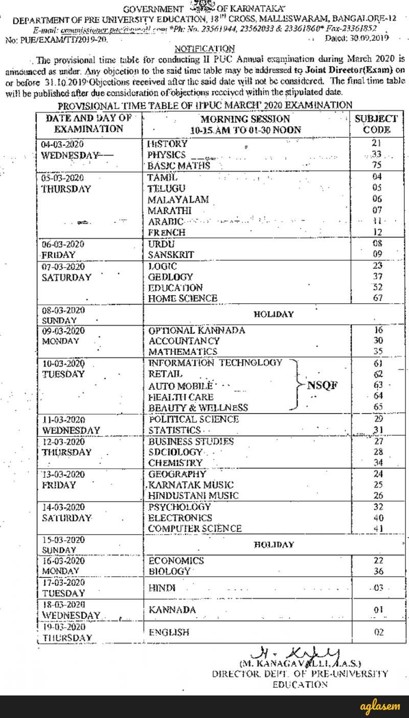Karnataka Board 2nd PUC Time Table 2020 Released