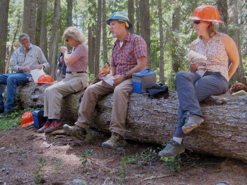 Clackamas Stewardship Partners & US Forest Service members eat lunch on a log on a joint field trip in 2019, photo by Robert Roth.