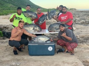 October 8. Caught 6 uluas 1 omilu eaten and we let go 1 ulua.
