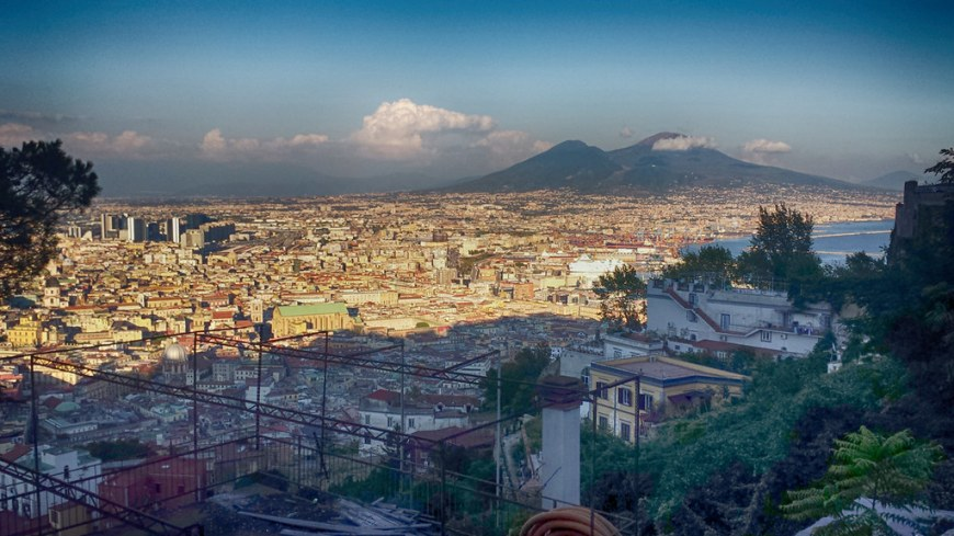 View over Napoli with the Vesuvius volcano in the back, from the top of Castel St Elmo