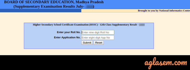 MP board 12th supplementary exam result