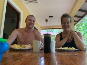 Kids to the jungle school, time for coffee and eggs