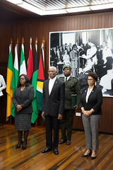 President David Granger, Minister of Foreign Affairs, Hon. Dr. Karen Cummings and Director General, Ministry of Foreign Affairs Ambassador Audrey Waddell.