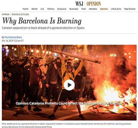 19j17 WSJ Los disturbios pueden echar a Sánchez