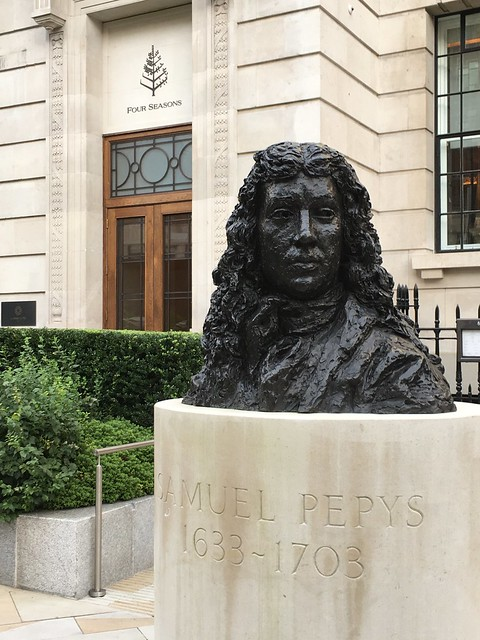 Seething Lane Gardens Pepys bust and Four Seasons back door