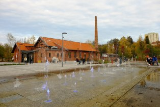 Sidewalk fountain at the historic Raphaelons Sawmill. City of Olsztyn ( Poland 2019 )