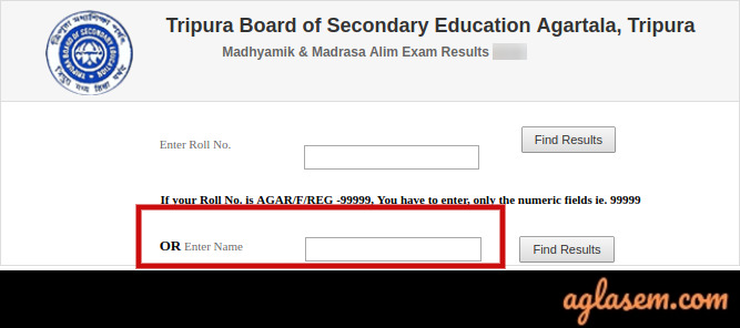 TBSE Madhyamik Name wise Result