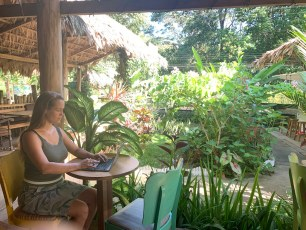 Diana at work digital nomad style