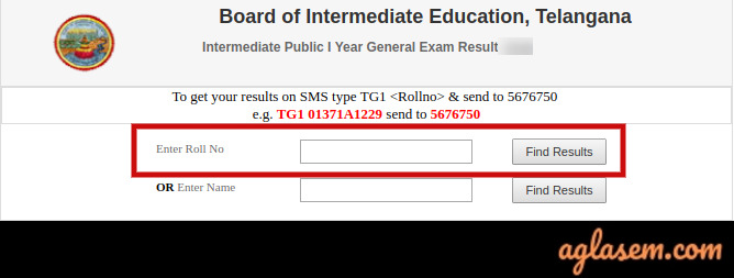 TS Inter 1st Year roll number wise result