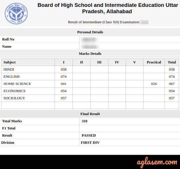 UP Board 12th Result 2020 Roll Number Wise