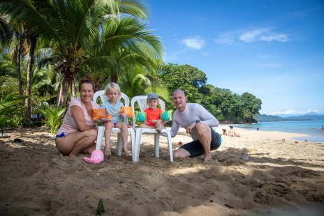 Family pic at beautiful beach of Punta Uva (oct 2019)
