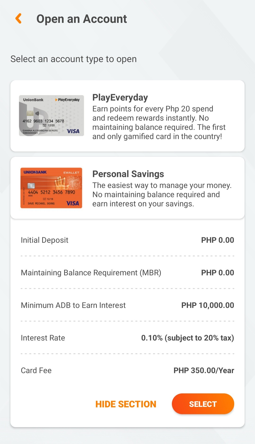 Opening Personal Savings Account on Unionbank Mobile App