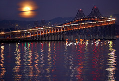 November moon rising over the San Francisco Bay
