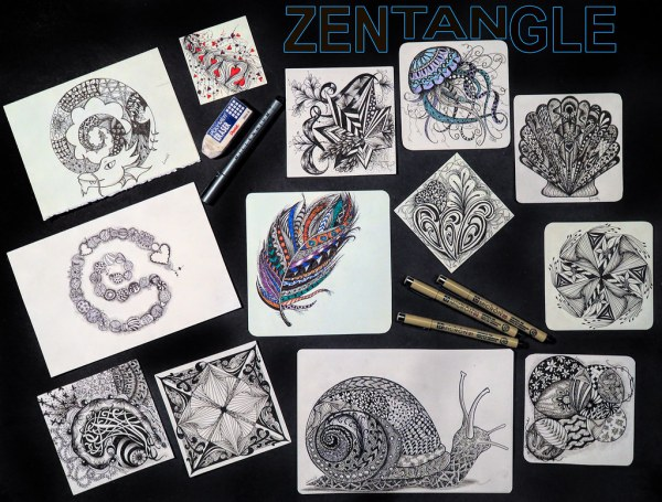 Week #46 of Trevor Carpenter Photo Challenge, Flat Lay, Zentangle Drawings