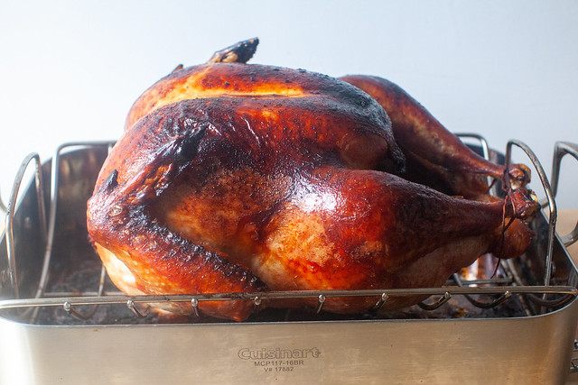 dry-brined turkey with roasted onions