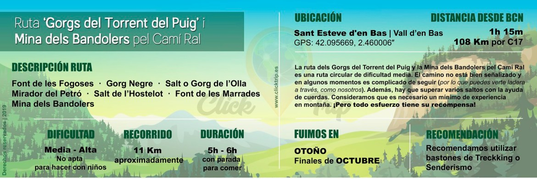 Infografía Ruta Gorgs Torrent del Puig i Mina dels Bandolers Olot Garrotxa