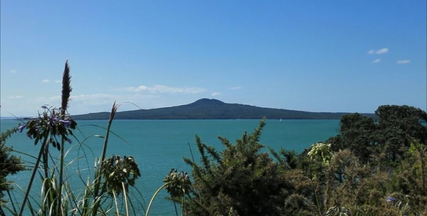 A view of the blue lake, with the dormant volcano in the background