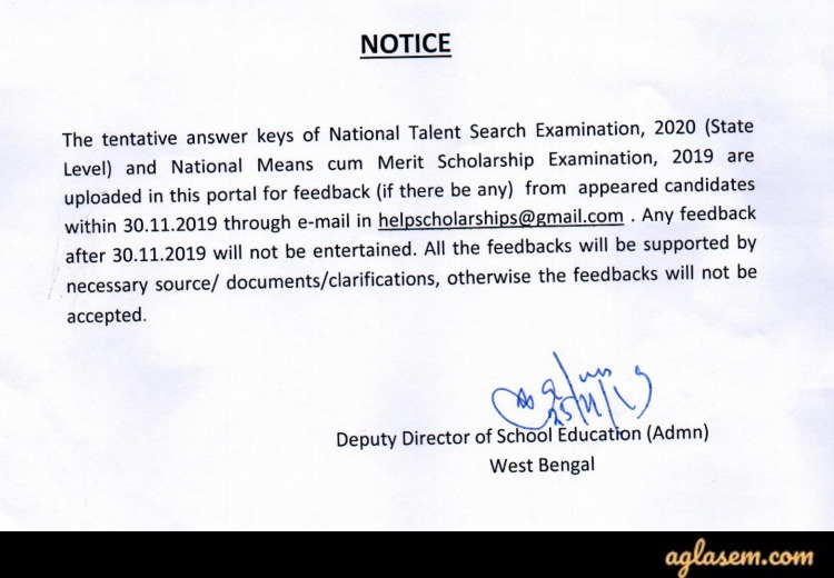 Notice regarding West Bengal NTSE 2020 Stage I Answer Key