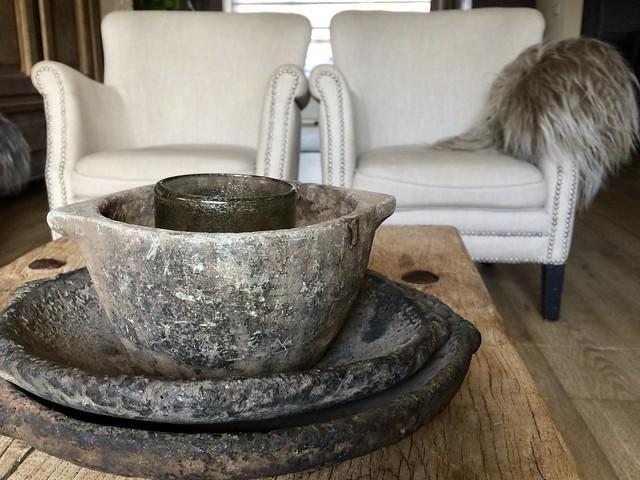Stenen schalen salontafel landelijk