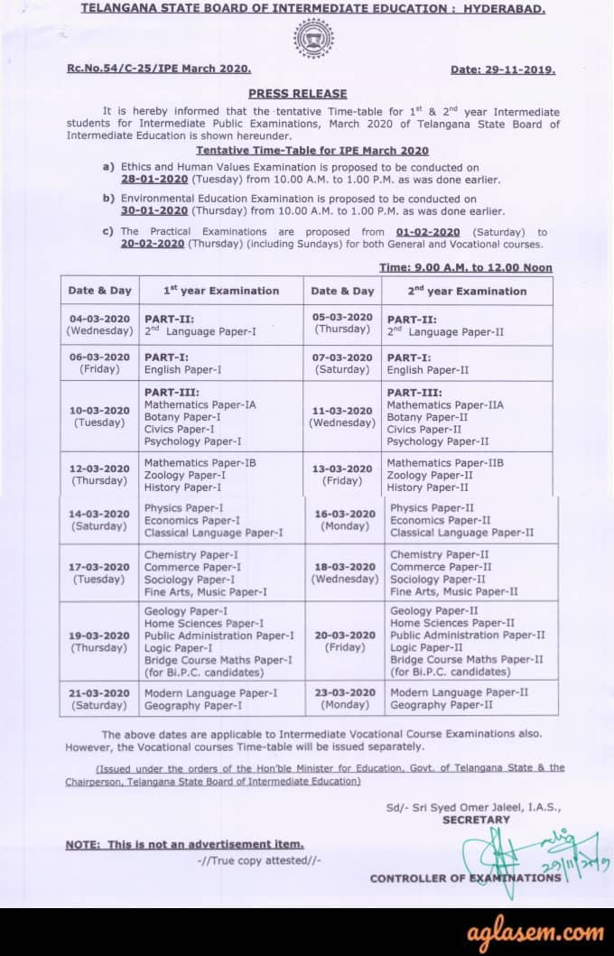 TS Inter 1st Year Time Table 2020