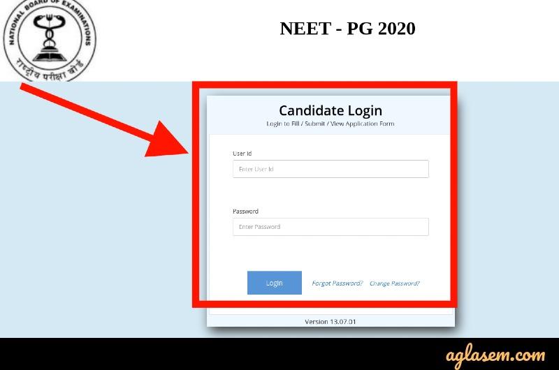 NEET PG form correction login 2021