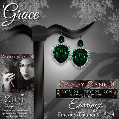 CCHunt-Zuri's Grace Earrings - EmeraldDiamond - Steel