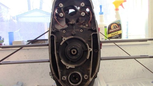 Inner Timing Cover Exposed After Electrical Components Removed