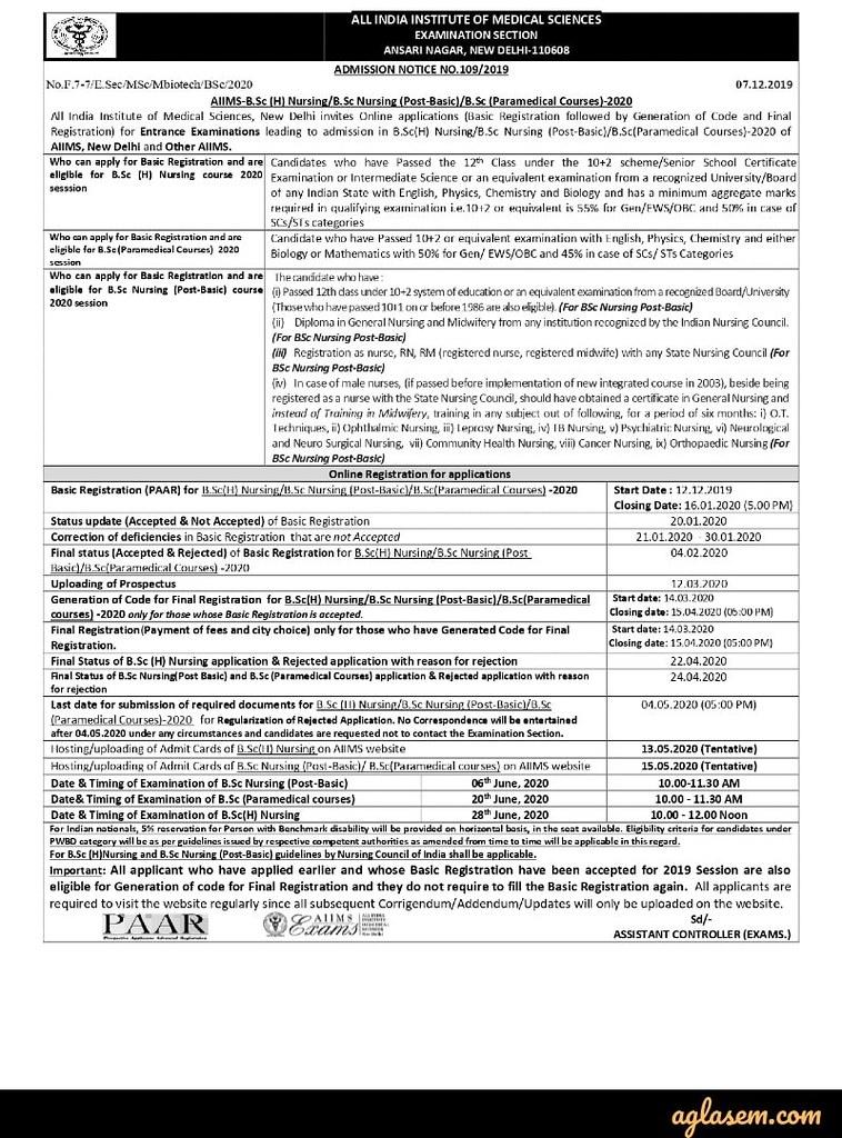 AIIMS BSc Nursing 2020 Admission Notification