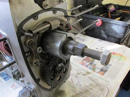 Cycle Works Tool Assembled Around Crankshaft Sprocket & Nose Bearing