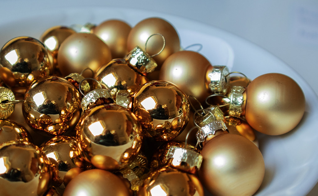 Self-portrait on golden balls