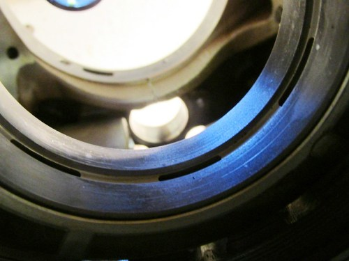 Rear Main Bearing Shows Grooves and Discoloration