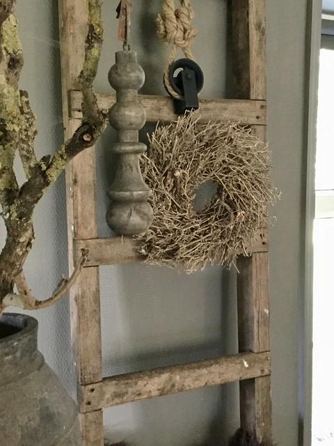 Houten ladder krans houten klos