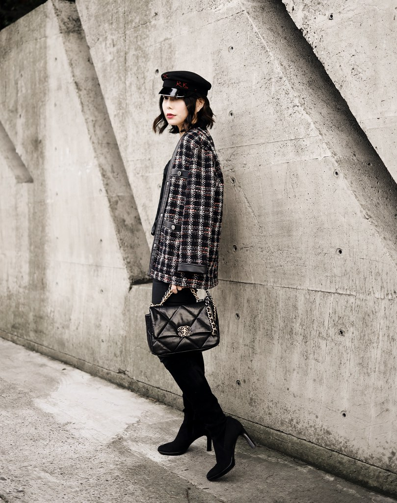 ▌Outft ▌Chanel 19 Bag + Ruslan Baginskiy報童帽 + Maje Tweed Blazer (VESTE CONTRASTÉE FAÇON TWEED)