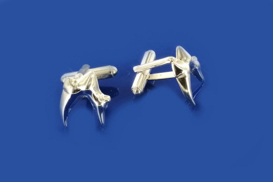 spinki srebrne na zamówienie, kształt zęba psa