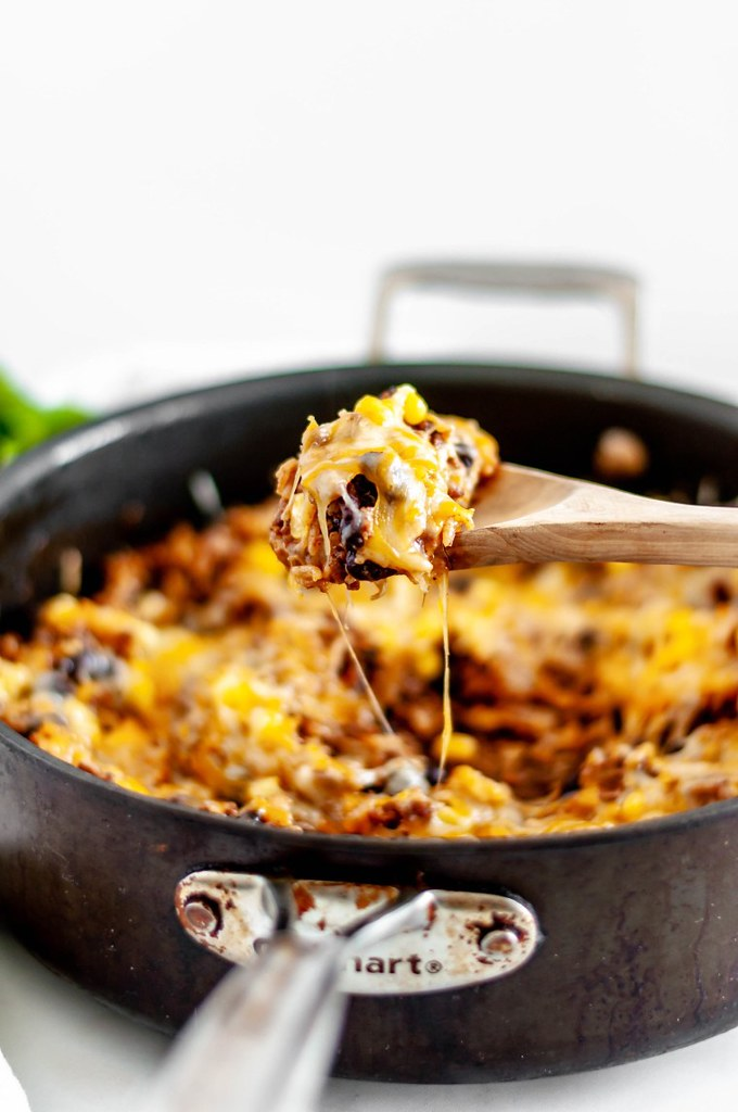 This Cheesy Mexican Skillet is a weeknight wonder. Done in 30 minutes all in one pan.
