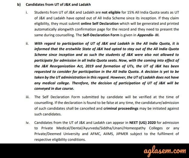NEET 2021 eligibility for Jammu and Kashmir